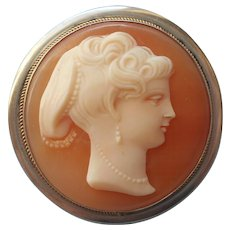 European Cameo Vintage 800 Silver Pin Pendant Round Carved Shell - Red Tag Sale Item