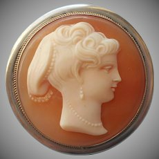 European Cameo Vintage 800 Silver Pin Pendant Round Carved Shell