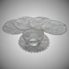 1920s Doilies 5 Finger Bowl Vintage Linen Filet Lace Cutwork Some TLC