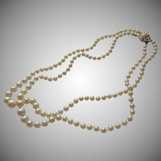 European Glass Imitation Pearls Necklace Vintage 800 Silver Clasp