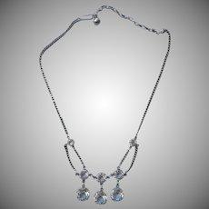 Vintage Crystal Festoon Necklace ca 1970 Edwardian Revival