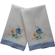 Vintage Towels Appliqued Hand Embroidered Blue Hems Flowers
