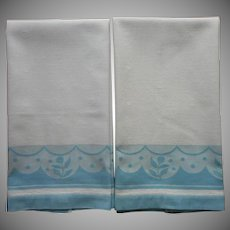 1930s Towels Vintage Cannon Art Deco Blue White Pair