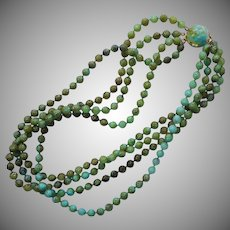 1960s Necklace Vintage Plastic Multi Strand Bead Green Turquoise Color