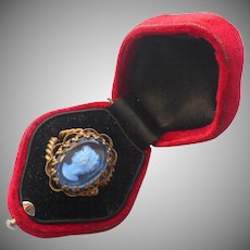 Vintage Brass Glass Intaglio Cameo Ring West Germany