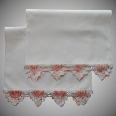 Pair Peach Crocheted Lace Trim White Cotton Runners Runner Vintage As Is TLC