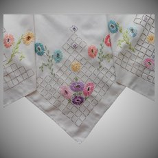 1920s Tablecloth Hand Embroidered Bright Flowers Slightly TLC