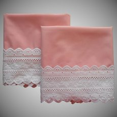 1970s Pillowcases Coral Pink White Eyelet Lace Trim Vintage