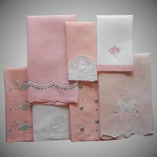 Guest Towels Vintage 1930s to 1950s Linen All With Peach