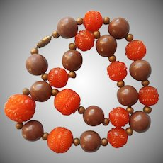 1930s Necklace Vintage Carved Unknown Plastic and Painted Wood Beads