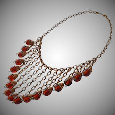 1930s Necklace Bib Fringe Vintage Amber Colored Glass Brass TLC
