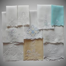 Madeira Guest Towels Vintage Hand Embroidery Appliqued 1920s to 1940s
