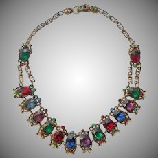 1920s Vintage Necklace Colored Glass Stones
