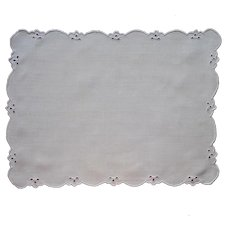 Tray Doily Vintage Linen Cutwork Ice Blue On White Hand Embroidery