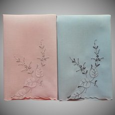 Madeira Guest Towels Vintage Linen Pink Blue Gray Hand Embroidery