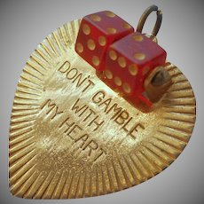 Vintage Charm Celluloid Dice Don't Gamble With My Heart