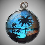Butterfly Wing Charm Vintage Tropical Sunset