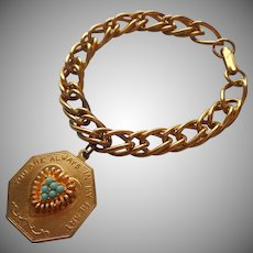 Charm On Bracelet Vintage You Are Always In My Heart Faux Turquoise