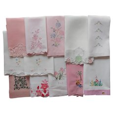Vintage Guest Towels All Pink or Pink Embroidery Decoration
