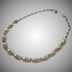 Lisner Faux Pearl Rhinestone Vintage Leaves Necklace Bridal Wedding