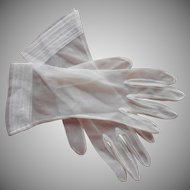 Sheer Gloves Vintage Transparent White Nylon Pleated Cuffs M to L