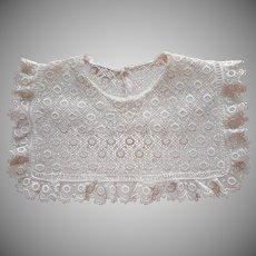 1940s Lace Collar Vintage Squared Bib Style Back Closure