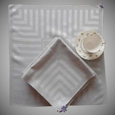 12 1950s Gray Damask Napkins Set Vintage Stripes TLC