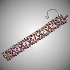1950s Red AB Rhinestones Wide Vintage Bracelet