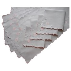 1950s Madeira Placemats Napkins Runner Vintage Linen Appliqued Hand Embroidery