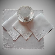 Antique Tea Napkins 4 Whitework Hand Embroidery TLC