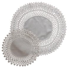 Coronation Cord Crocheted Lace Antique Doily and Centerpiece TLC