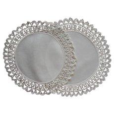 Coronation Cord Pair Antique Doilies Linen Lace Lamp Size