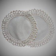 Coronation Cord Pair Antique Doilies Linen Lace Lamp Size