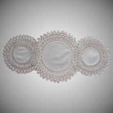 Coronation Cord Crocheted Lace Antique Console Doily Set