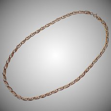 Vintage Rhinestone Studded Chain Necklace 24 Inches Gold Tone Metal