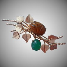 Gold Filled Scarab Chrysoprase Tiger Eye Pin Vintage Van Dell