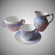 Bing and Grondahl Seagull Creamer Sugar Bowl Base Cup Saucer Damaged