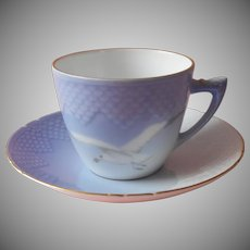 Bing and Grondahl Seagull Cup Saucer 102 Vintage Denmark China Blue White