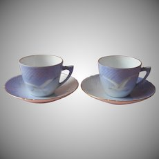 Bing and Grondahl Seagull 2 Cups 2 Saucers 102 Vintage Denmark China Blue White