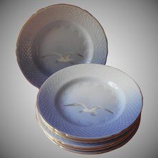 Bing and Grondahl Seagull Plates Bread Small Dessert Vintage Denmark China Blue White