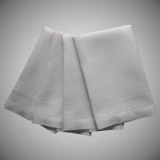 Set 4 Damask Linen Hand And Face Towels Stripes Weave Vintage 1930s