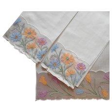 Madeira Organdy Linen Guest Towels Set 3 Vintage Hand Embroidered