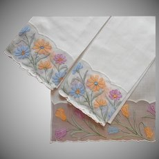 Madeira Organdy Linen Guest Towels Set 3 Vintage Hand Embroidered