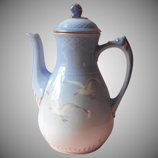 Bing and Grondahl Seagull Coffee Pot Vintage Denmark China Blue White