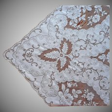 Lace Tablecloth Vintage Ecru And White Thick Heavy 84 x 64 TLC