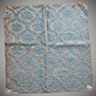 Vintage Fabric Sample High End Cut Velvet Turquoise Blue Taupe Upholstery
