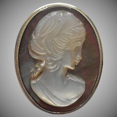 Vintage Cameo Pin 800 Silver Carved Mother Of Pearl Pendant Bail