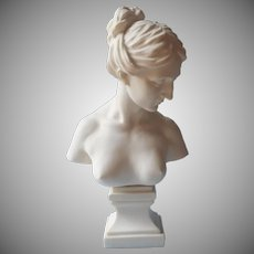 Vintage Bust Statue Aphrodite Nude Bare Breasts Classical Woman