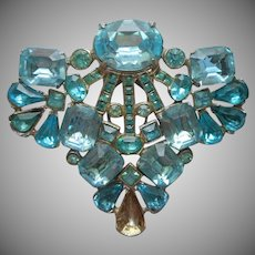 Fur Clip Vintage Large Aqua Blue Glass Stones TLC Can Be Worn As Pin