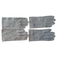 Vintage Men's Gloves Gray Suede Leather 8.5 Or XL Ladies